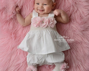 e9669ac25 Baby Girl White Two Piece Romper Baby Girl Romper Set Infant Two Piece Set  with Chiffon Flowers and Matching Headband