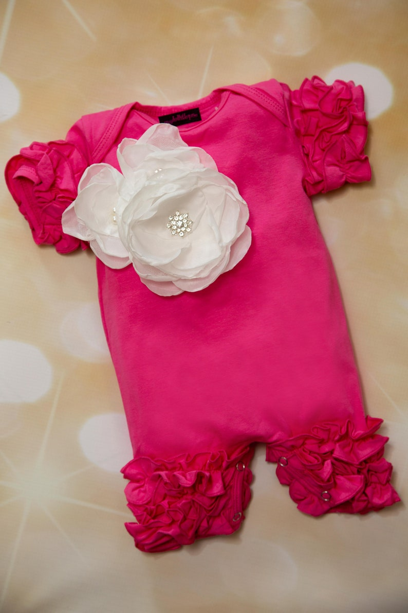 Ruffle Hot Pink Baby Girl Romper Short Sleeve Infant One Piece  Romper with Large  Flower