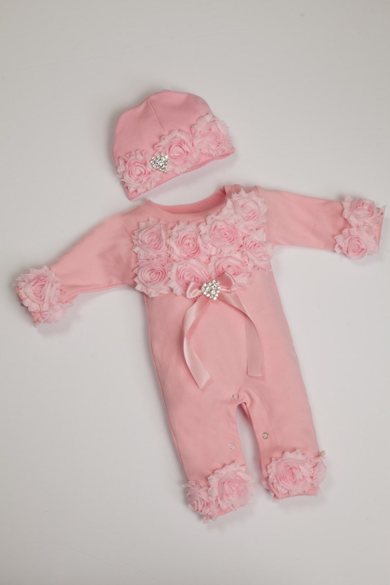 2de6faf8c Pink Baby Girl Romper Set Infant One Piece Set with Shabby