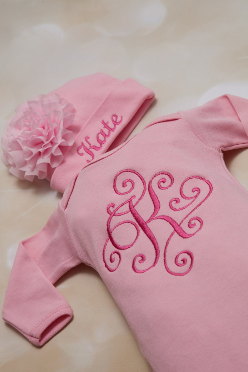 Pink Personalized  Baby Girl Gown Set White Embroidered Infant Gown Set with Beautiful Frame and Matching Hat