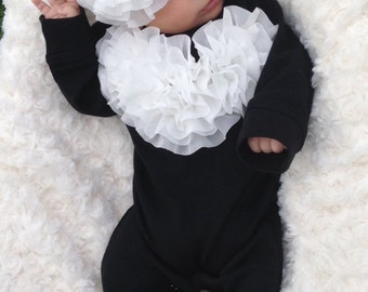 Black Romper Baby Girl Romper Set Infant One Piece Set with Off White Chiffon Flowers and Headband