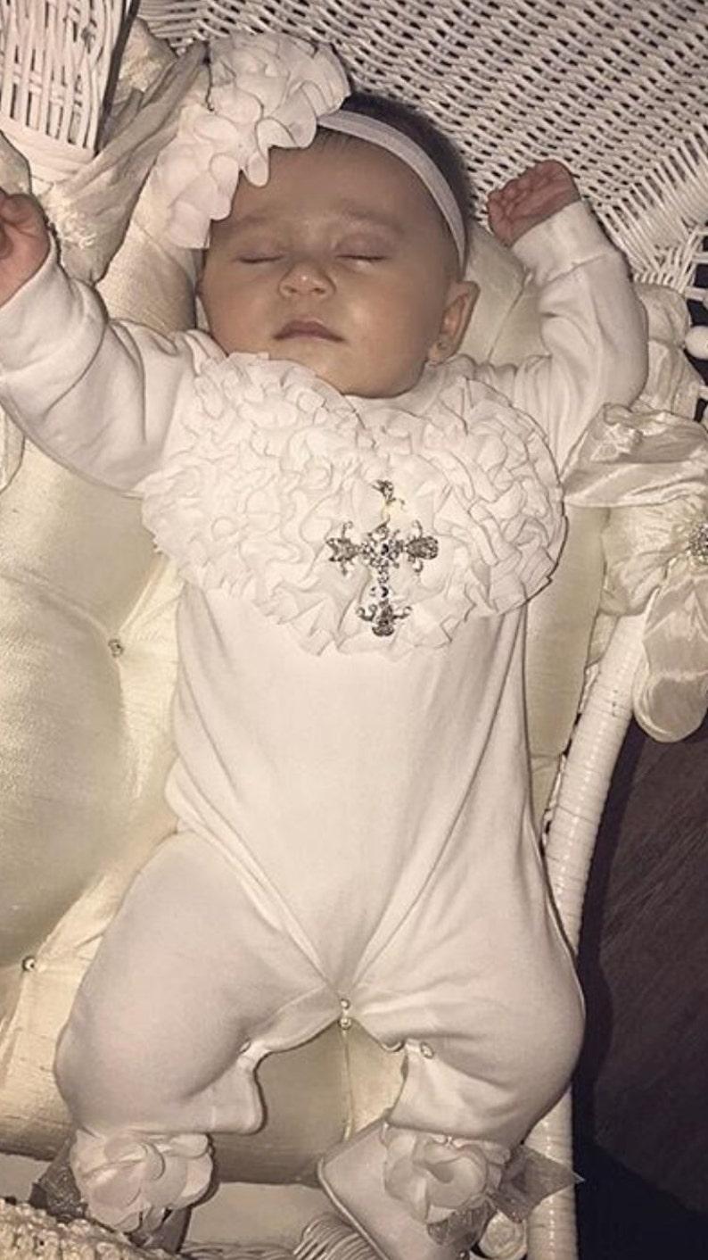 c5a0c7419 Baby Girl Christening Romper Infant Baby Girl Layette White