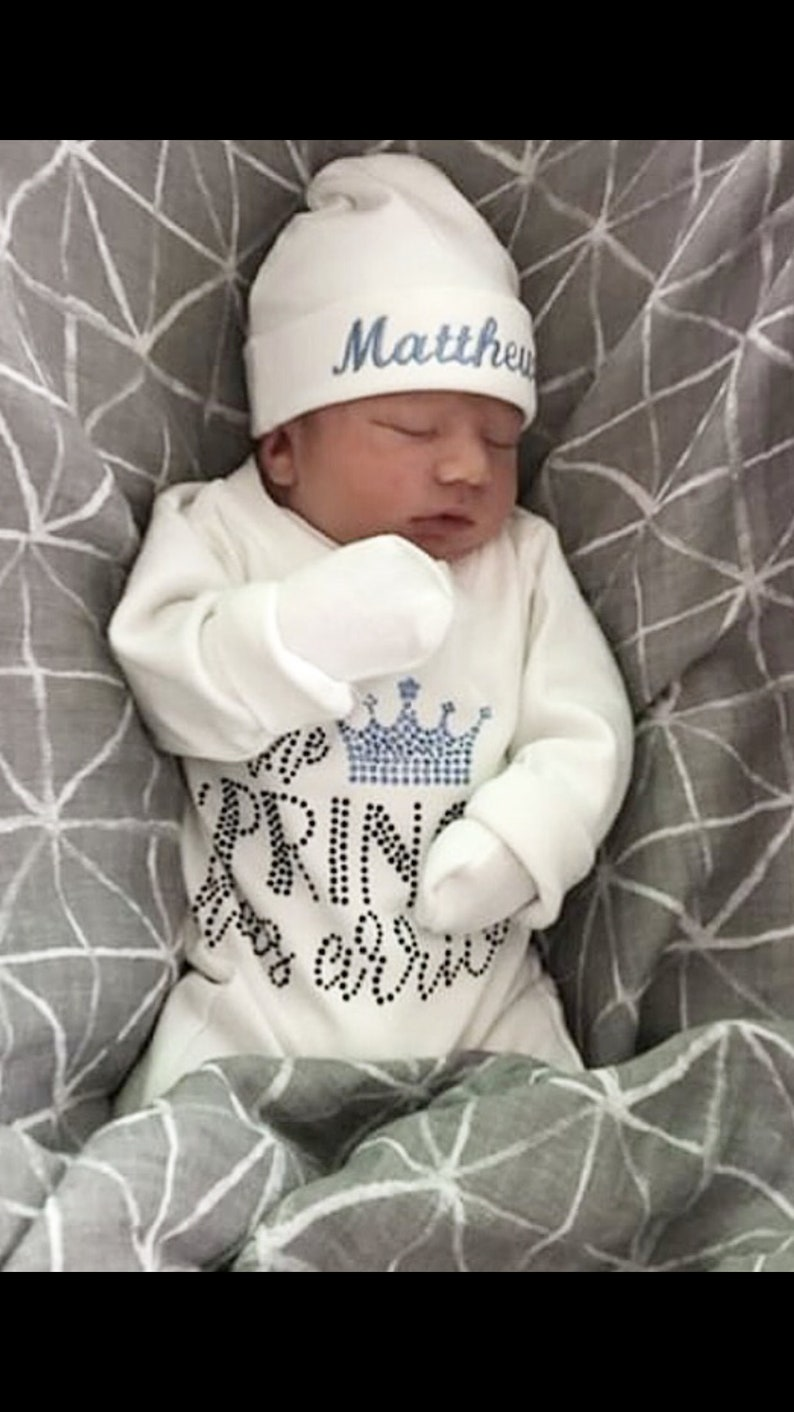Baby Boy Personalized White Baby Boy Romper Set with Rhinestone Applique Infant Romper Set  with Matching Hat