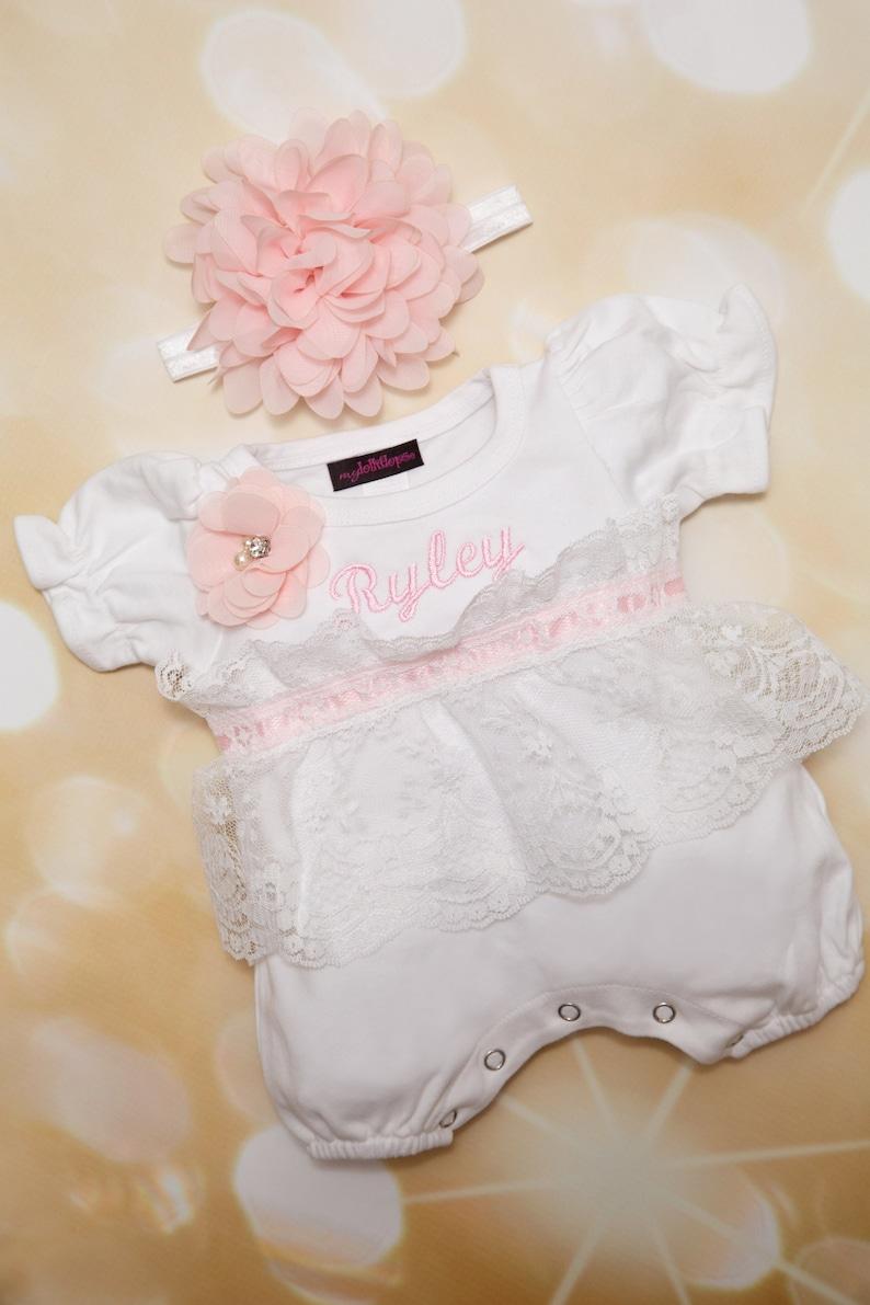 0bc8673456e Baby Girl Lace Romper Infant Baby Layette White Cotton Bubble