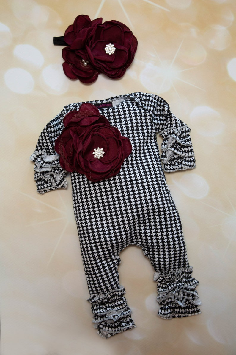 8cc72fbcdcd Baby Girl Houndstooth Ruffle Infant Layette Cotton Baby Romper