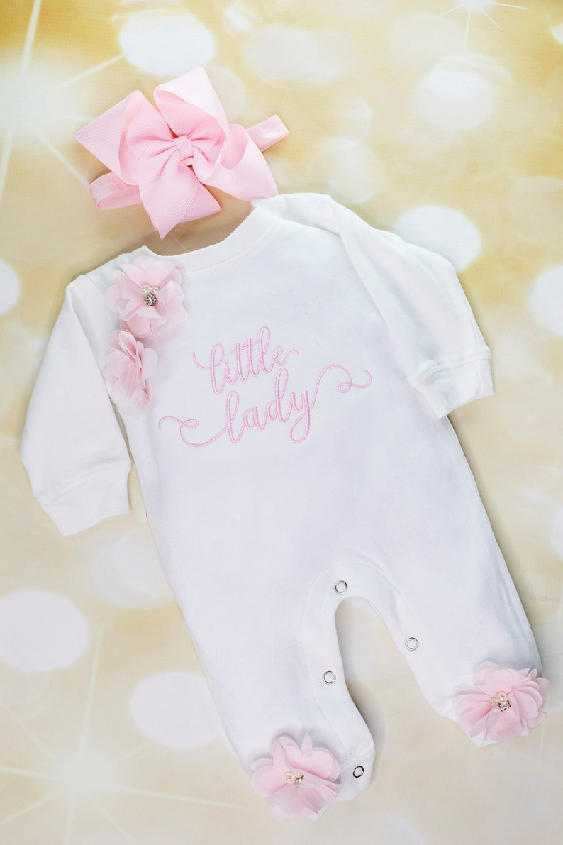 Baby Girl  White Infant Layette Cotton Baby Romper with Large Little Lady Embroidery  On The Chest and Matching Headband