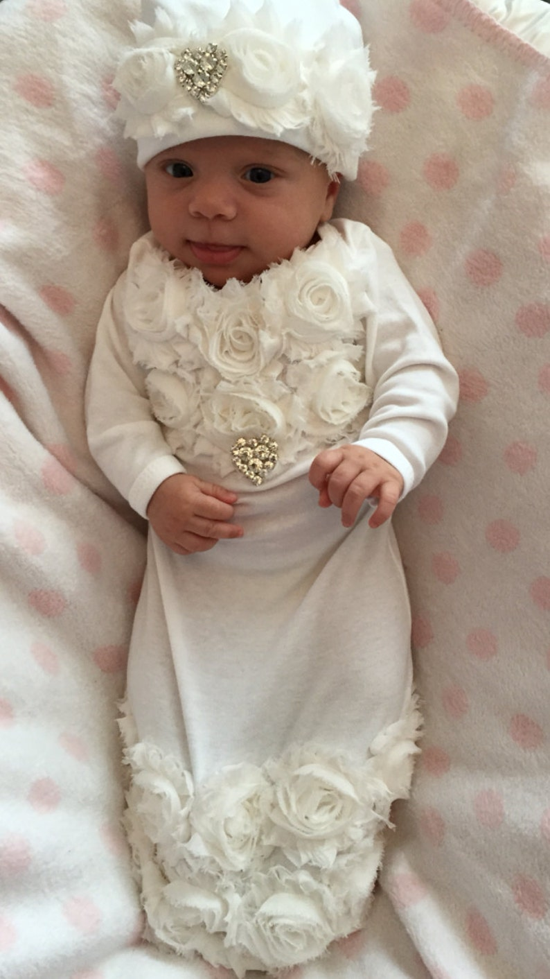0ac181947 Baby Girl Take Home oUtfit Infant Baby Layette White Cotton
