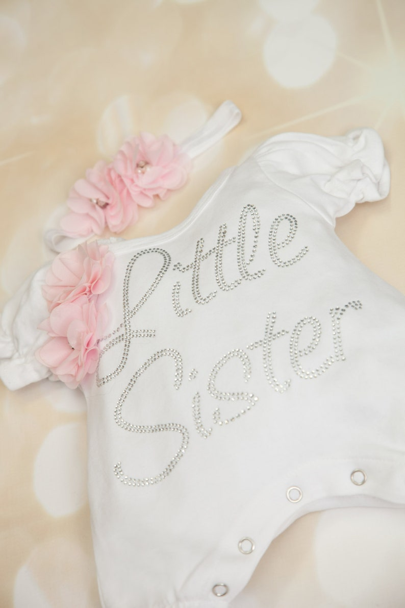 Bubble Romper Baby Girl Romper Set Little Sister White Infant One Piece Set with Chiffon and Matching Headband