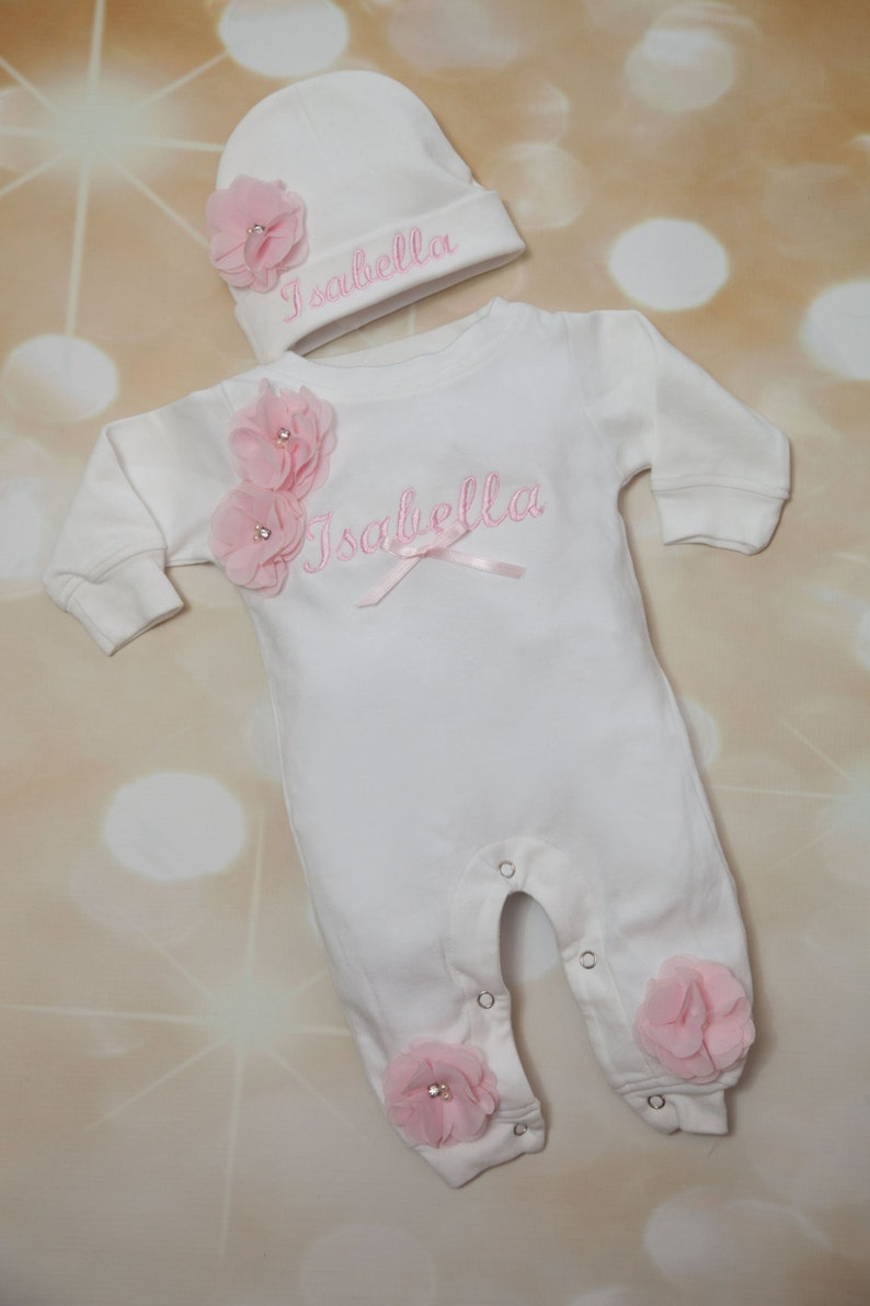 758eaf9ef Baby Girl Romper Personalized White Romper Set Embroidered