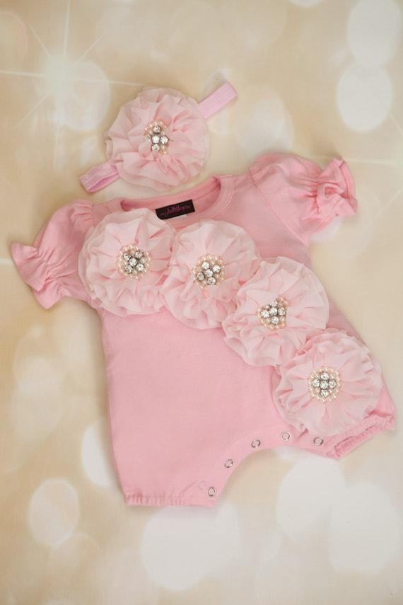 935480527 Pink Baby Girl Romper Set Infant One Piece Set Bubble Romper