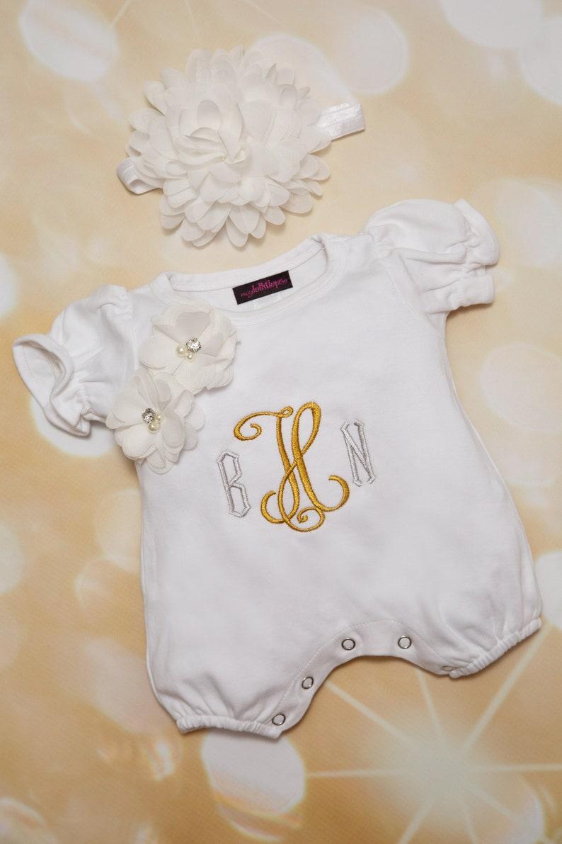 6960a64931b7 Baby Girl White Bubble Romper Summer Monogram Romper Set