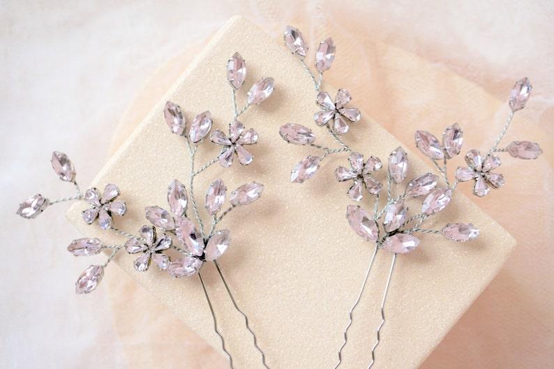 Pink Rhinestone Hair Pins,Pink Bridal Hair Pins,Pink Wedding Hair Pins,Pink Hair Accessories,Pink Bridal Hair Piece,Pink Wedding Hair Piece
