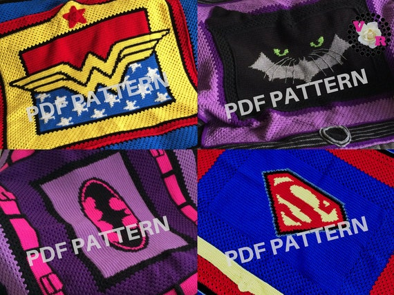 Girl Power Crochet Graphghan Blanket Patterns 4 Pack eBook (PDF files only) - inspired by DC Comics