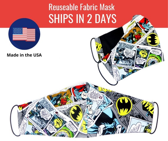 Batman Comics Blue Fabric Face Masks for adults womens mens and kids, reuseable and washable cotton