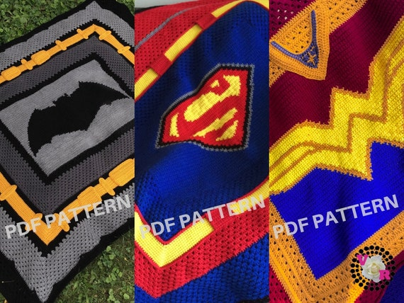 Justice League Crochet Graphghan Blanket Patterns 3 Pack eBook (PDF files only) - inspired by DC Comics