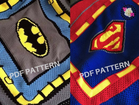 Batman VS Superman Crochet Graphghan Blanket Patterns 2 Pack eBook (PDF files only) - inspired by DC Comics