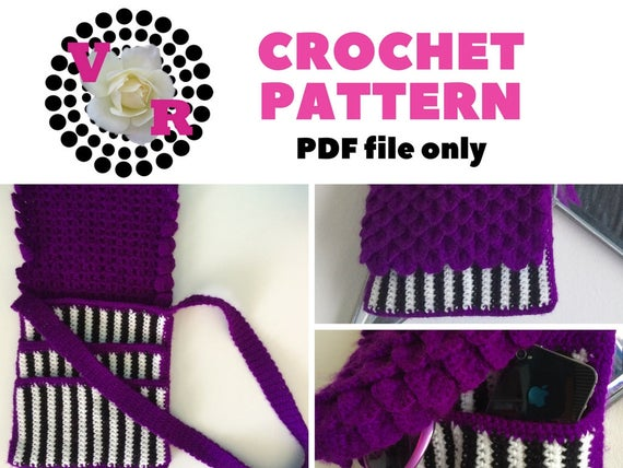 Purple Stripes | Crossbody Purse | Pattern | Crochet | Satchel | black and white | Easy | Womens