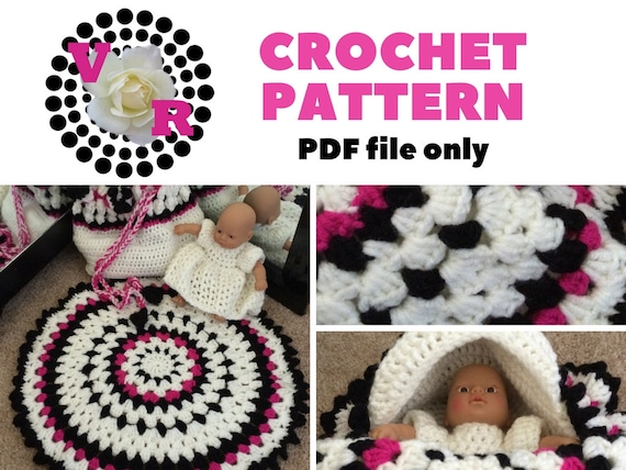 Crochet Baby Cradle | Crochet Pattern | Purse | toy | white and black | babies | girls