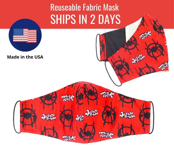 Spiderman Red Fabric Face Masks for adults womens mens and kids, reuseable and washable cotton