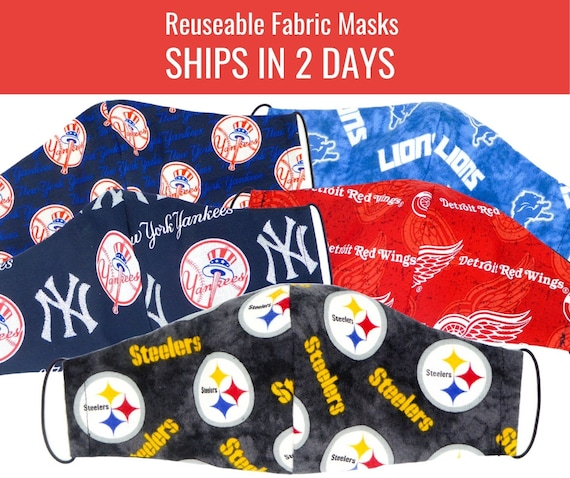 Sports Teams Fabric Face Masks for adults womens mens and kids, reuseable and washable cotton