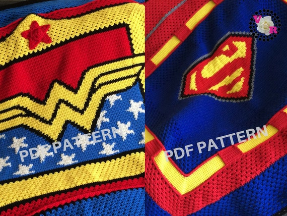 Wonder Woman & Superman Crochet Graphghan Blanket Patterns 2 Pack eBook (PDF files only) - inspired by DC Comics