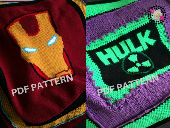 Iron Man & The Hulk Crochet Graphghan Blanket Patterns 2 Pack eBook (PDF files only) - inspired by Marvel Comics