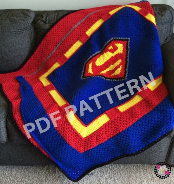 Superman Crochet Graphghan Blanket Pattern (PDF file only) - inspired by DC comics Superman