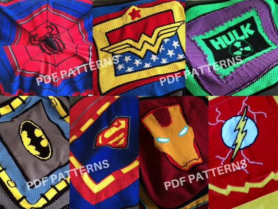 Crochet Graphghan Blanket Patterns 7 Pack eBook (PDF files only) - inspired by DC Comics and Marvel Comics