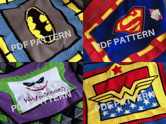 Superhero Crochet Graphghan Blanket Patterns 4 Pack eBook with The Joker (PDF files only) - inspired by DC Comics
