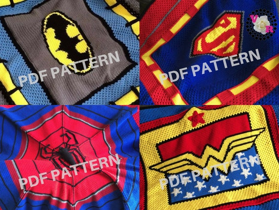 Superhero Crochet Graphghan Blanket Patterns 4 Pack eBook with Spiderman (PDF file only) - inspired by DC Comics and Marvel Comics