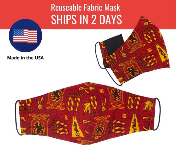 Gryffindo Red Harry Potter Fabric Face Masks for adults womens mens and kids, reuseable and washable cotton
