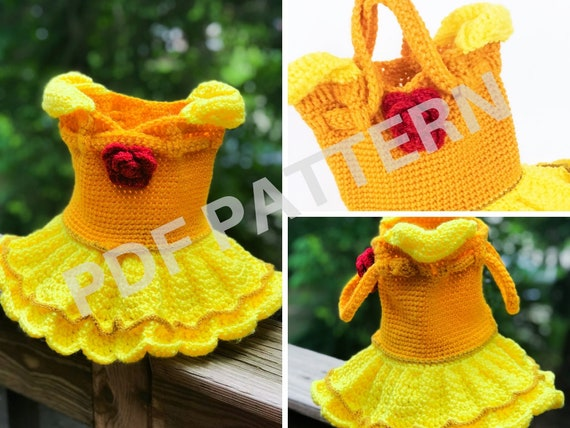 Princess Belle Crochet Purse Pattern (PDF file only) - inspired by Disney Beauty and the Beast