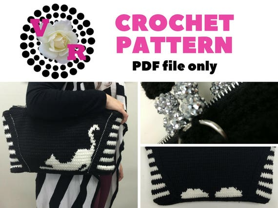 Cat | Purse Pattern | Kitty | Womens Bag | Easy | Crochet |  black and white purse | Graphghan