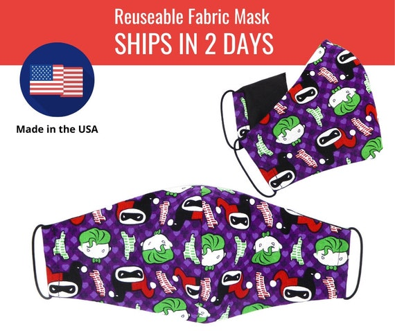 Joker and Harley Quinn Comics Purple Fabric Face Masks for adults womens mens and kids, reuseable and washable cotton