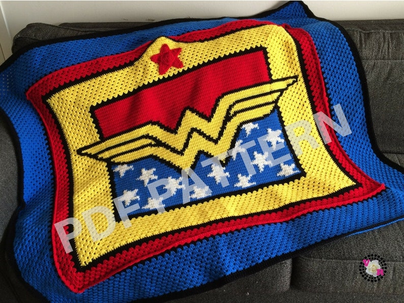 Wonder Woman Crochet Graphghan Blanket Pattern PDF file only image 0