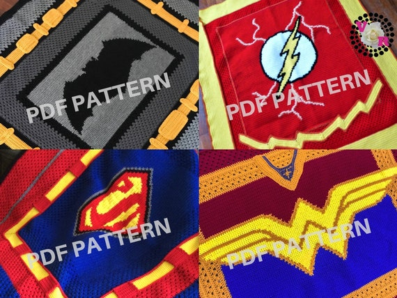 Justice League Crochet Graphghan Blanket Patterns 4 Pack eBook (PDF files only) - inspired by DC Comics