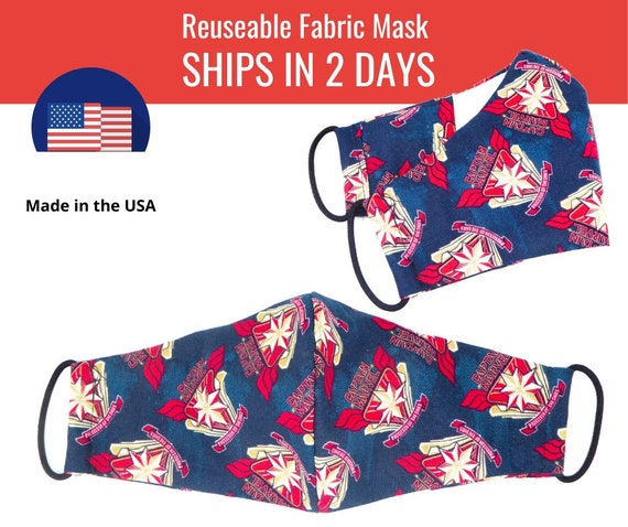 Captain Marvel Blue Fabric Face Masks for adults womens mens and kids, reuseable and washable cotton