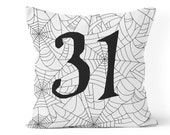 halloween pillow cover, farmhouse halloween decor,31 pillow cover, porch pillow, front porch decor, black and white spiderwebs