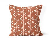 burnt orange pillow cover, rust decor, fall decor, porch pillow, front porch decor, floral pillow cover, throw pillow for bed, fall colors