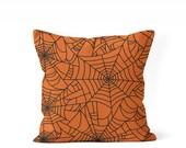 orange Halloween pillow cover, Halloween decor, spider web pillow, porch pillow, front porch decor, Halloween throw pillow, spider web decor