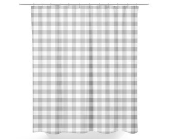 Gray Gingham Shower Curtain Farmhouse Bathroom Decor Country Fabric Plaid And White