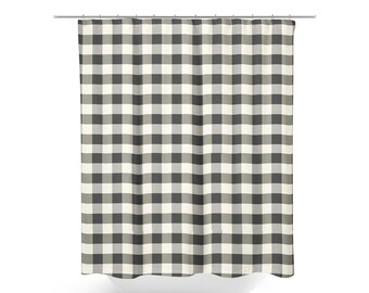 Shower Curtain Farmhouse Bathroom Decor Black And White Country Fabric Buffalo Check Gingham