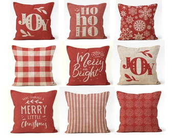 christmas pillow covers 18x18 20x20 16x16 or 14x14 red and tan mix and match farmhouse style decor christmas pillows with sayings