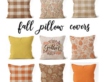 """Farmhouse fall pillow covers 18""""x18"""", 20""""x20"""", 16""""x16"""" or 14""""x14"""" Thanksgiving decor rustic fall leaves, gather pillow cover orange"""