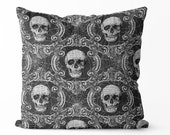 halloween pillow cover, vintage halloween decor black and white porch pillow, front porch decor, Halloween decor skull pillow cover