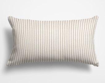 3f5ee131a71 farmhouse decor, lumbar pillow cover 12x18 in, 12x20 in, 14x20 in, 14x26  tan ticking throw pillow cover home decor for living room
