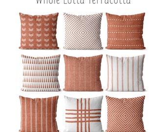 Custom Terracotta Linen Pillow 26x26 Terracotta Pillows,Terracotta Linen,Pillow,Couch Pillow,Sofa Pillow,16x16,18x18 22x22 20x20 24x24