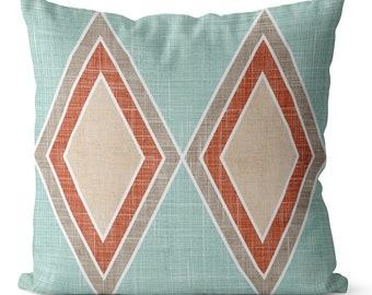 SALE pillow cover 16x16 inch with Terracotta diamonds on Aqua blue  pillow cover boho colors  soft southwestern decor