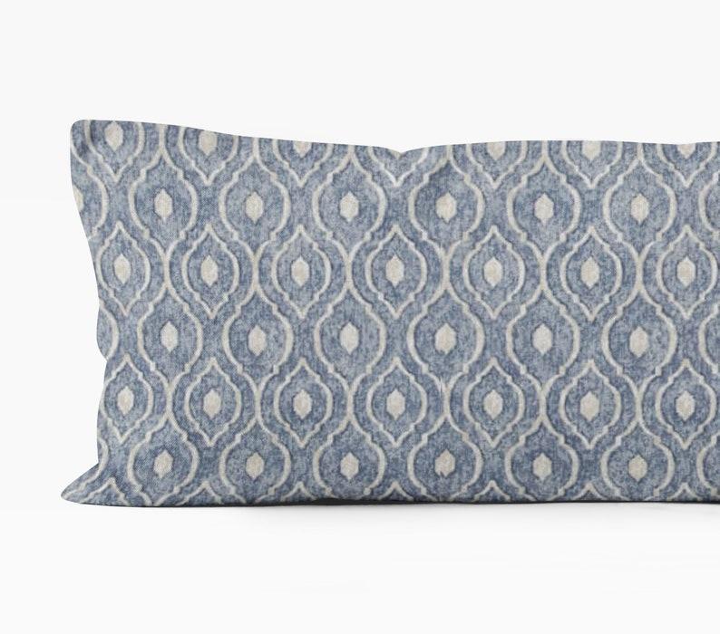 Awe Inspiring Blue Body Pillow Cover 20X54 Inch Denim Blue Bedroom Decor Geometric Pillow Cover Hamptons Style Home Decor Coastal Bedroom Download Free Architecture Designs Rallybritishbridgeorg