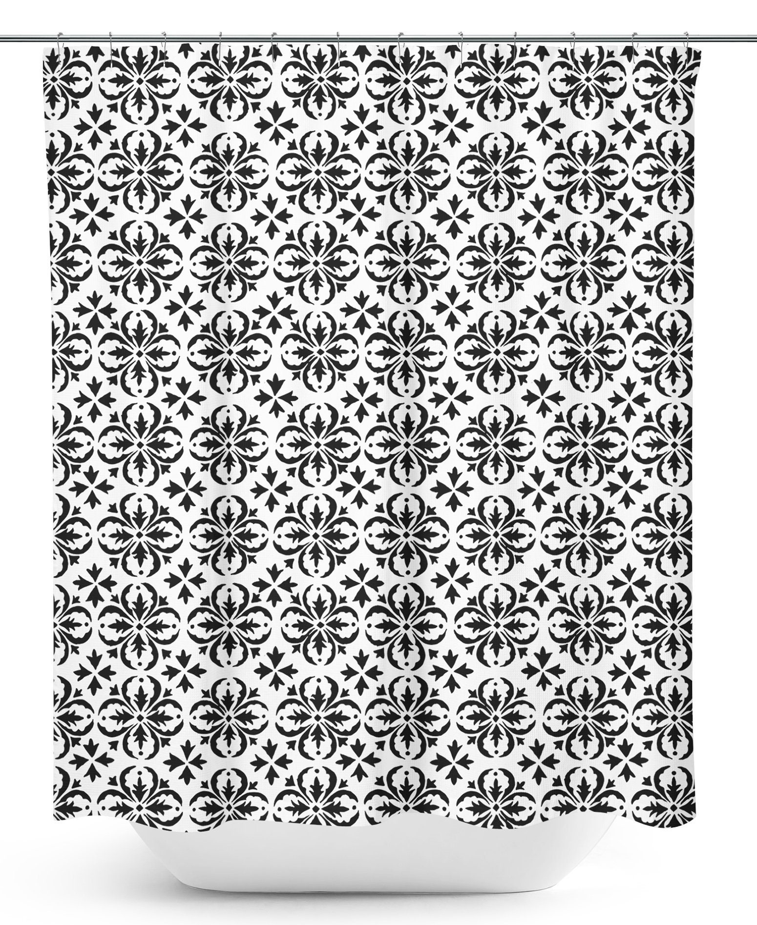 Farmhouse Shower Curtain Black And White Bathroom Decor Tile Geometric